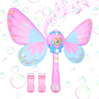 Bubble Machine Blower with Bubble Solution for Kids, Musical Light up Butterfly Bubble Wand for Party, Outdoor Indoor Games