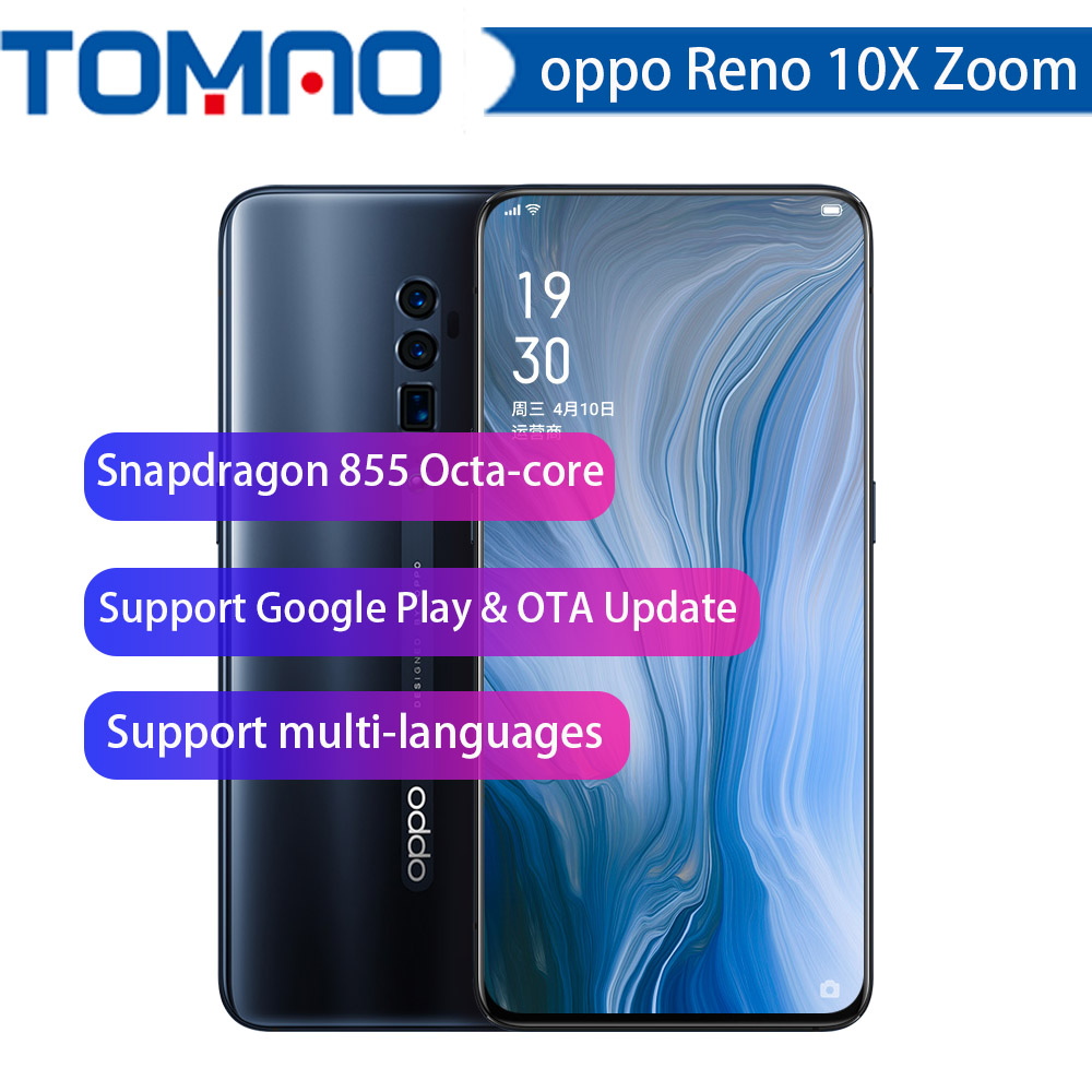 "Original Oppo Reno 10x zoom Mobile Phone Snapdragon 855 6.6"" IPS 2340X1080 6GB RAM 128GB ROM 48.0MP Slide Camera NFC Fingerprint
