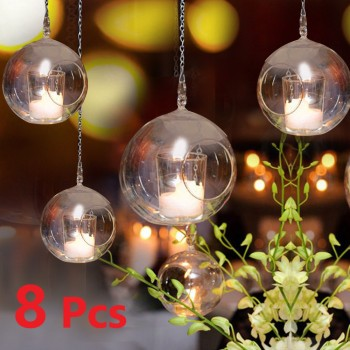 8Pcs 6/8cm Glass Candle Holder Hanging Tealight 6/8/10/12cm Globes Terrarium Wedding Candle Candlestick Vase Home Bar Decor 1