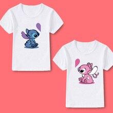 Boys T-shirt girls tops children clothing Stitch print summer casual cute love O-neck baby girls T-shirt boys tops kids clothes стоимость