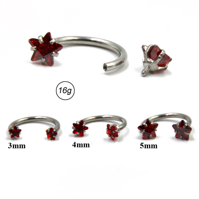 1PC Surgical Steel Internal Thread Barbell  Earring Cartilage Helix Piercing Star Gem Septum Nose Lip Eyebrow Ear Piercing 16G 3
