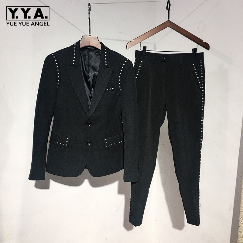 Brand Suit Jacket Set Men England Style Black Single Breasted Slim Blazer & Pants Two Piece Set Fashion Night Club Rivets Coat