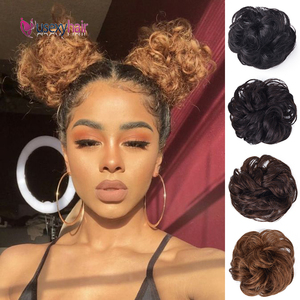 USEXY 100% Human Hair Curly Piece Scrunchie For Black Women Brazilian Remy Cover Hair Extensions Donut Curly Extension Ponytails