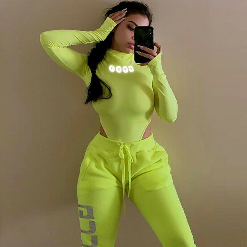Women Long Sleeve High Neck Neon Bodycon Sexy Christmas Bodysuit 2020 Autumn Winter Women Fashion Casual Slim Fit Body Bodysuits