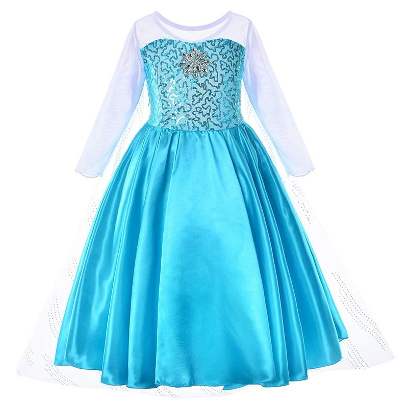 Girls Elsa Princess Dress Kids Summer Crystal Decorative Costume-Blue Children Elza Halloween Christmas Birthday Party Clothes