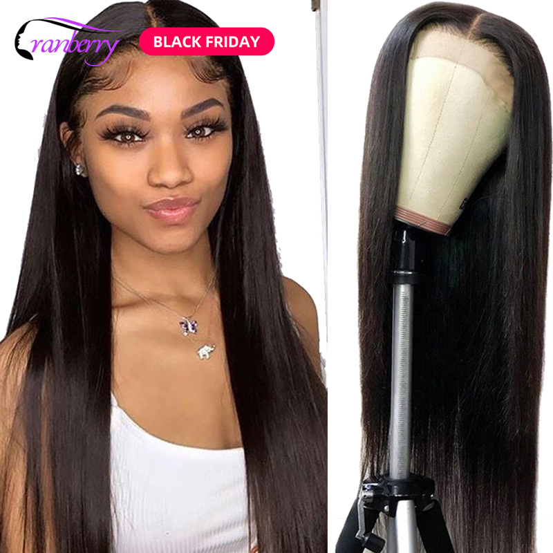 Cranberry Hair 4X4 Closure Wig 100% Remy Hair Brazilian Wig Lace Closure Wig Straight Human Hair Wigs For Black Women 10-24 Inch