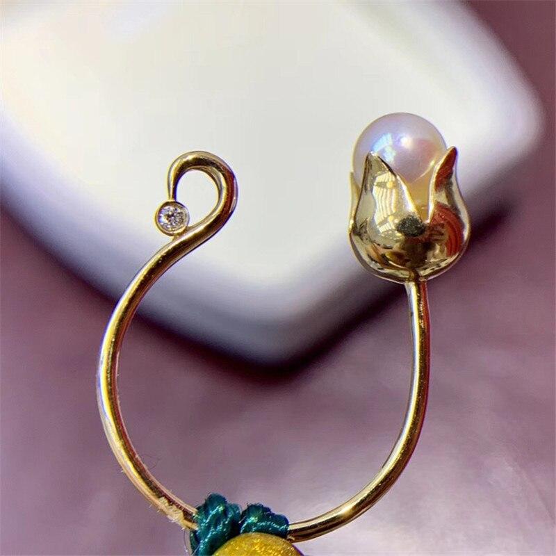 AU750 véritable 18K or jaune fleur anneau résultats ensemble composant de Base AU750 bijoux anneau réglable femmes beau cadeau