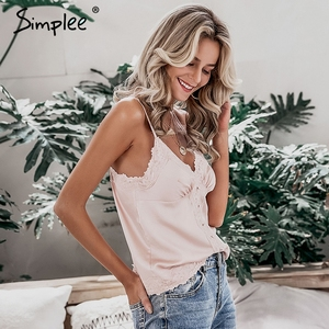 Image 3 - Simplee Sexy lace embroidery women satin tops Elegant v neck female button cami crop tops Solid spaghetti strap ladies tank tops