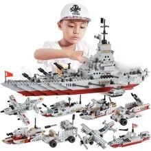 1000 + PCS 군사 군함 해군 항공기 육군 피규어 빌딩 블록 LegoINGlys 육군 군함 건설 벽돌 어린이 완구