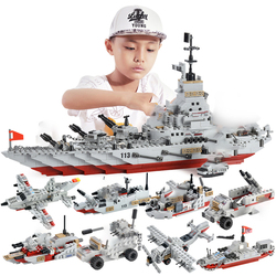 1000+ PCS Military Warship Navy Aircraft Army Figures Building Blocks Army Warship Construction Bricks Children Toys