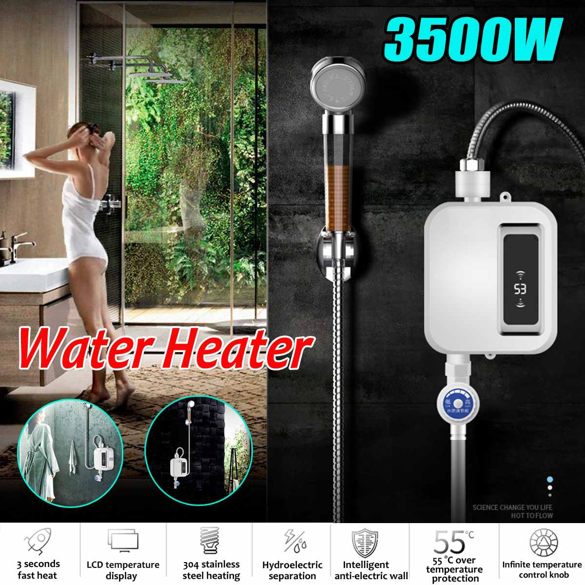EU Plug 3500W Electric Water Heater Instant Tankles Water Heater Hot Mini Heater With LCD Display For Kitchen Bathroom Home