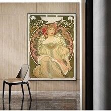 Alphonse Mucha – toile Vintage, affiches et imprimés d'art nouvelle femme, peintures sur le mur, images d'art pour salon