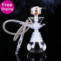 Brand hookahs glass shisha hookah with bowl, glass pipe with white silicone tube Smooking pipe