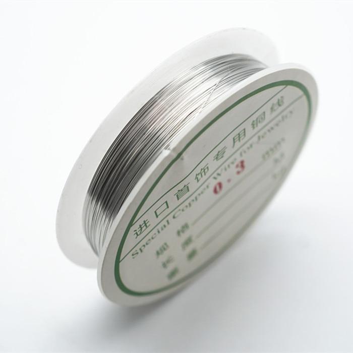 Четырехслойный разноцветный комбинезон серебро Медный провод для браслет Цепочки и ожерелья самодельные Украшения, Аксессуары 0,2/0,25/0,3/0,5/0,6/1,0 мм ремесло Бисер провода HK018 - Цвет: Rhodium copper wire
