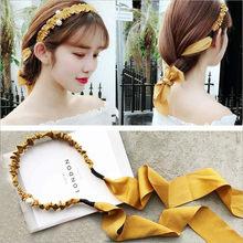 Moda feminina menina elegante pérola longo laço fita hairbands ornamento de cabelo senhora headbands meninas acessórios para cabelo