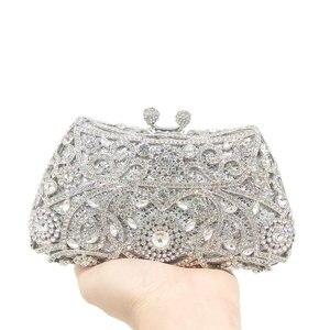 Image 2 - Boutique de fgg sparkling prata feminino cristal embreagem sacos de noite nupcial diamante embreagem bolsa festa casamento minaudiere bolsa