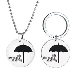1pcs High Quality Umbrella Academy Charm Necklace Cosplay Kawaii Metal Umbrella Fashion Jewelry Woman Gift Letter Keychain