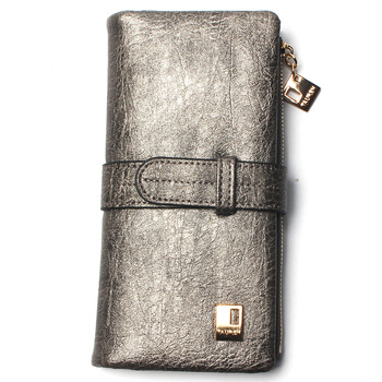 Women's Nubuck Leather Wallet Bags and Wallets Hot Promotions New Arrivals Women's Wallets Color: Silver