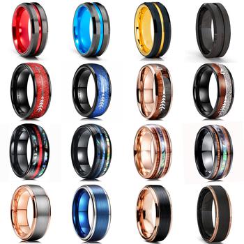 8mm mężczyźni cienki niebieski linia czarny pierścionek z węglika wolframu drewno z akacji Koa i Abalone powłoki wkładka czerwony meteoryt pierścień strzałka mężczyźni obrączka tanie i dobre opinie CN (pochodzenie) STAINLESS STEEL Metal TRENDY Obrączki ślubne ROUND Zgodna ze wszystkimi Poprawiające nastrój BT*3746