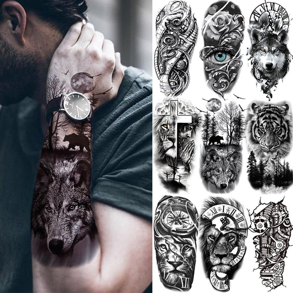 Schwarz Wald Tattoo Aufkleber Für Männer Frauen Kinder Tiger Wolf Tod Schädel Temporäre Tattoo Gefälschte Henna Skeleton König Tier Tatoo