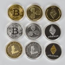 1 шт. позолоченная монета-Биткоин BTC бит физическая металлическая Коллекционная монета для подарка с пластиковым чехлом