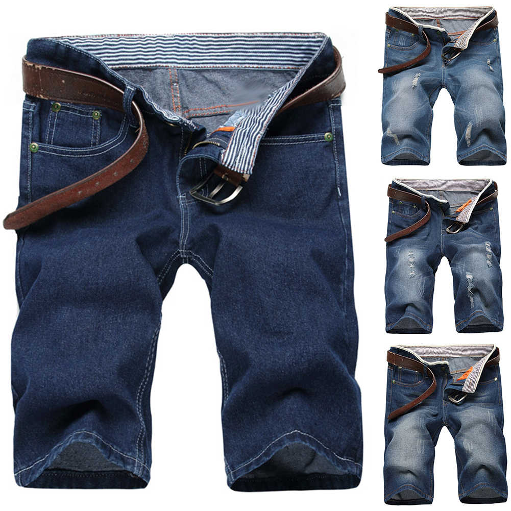 2019 Zomer Mode Mannen Kleding Ripped Straight Denim Shorts Jeans Casual Vernietigd Hole Fit Mannelijke Merk Mannen Broek Homme