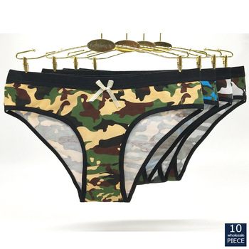 Hot sell 1-10 pcs/lot  Fashionable sexy camouflage print cotton girl underwear spot womens briefs lady panties 89265