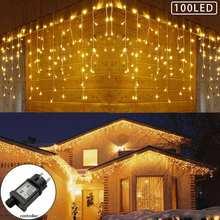 Гирлянда занавес в виде сосулек со 100 светодиодами Рождественская