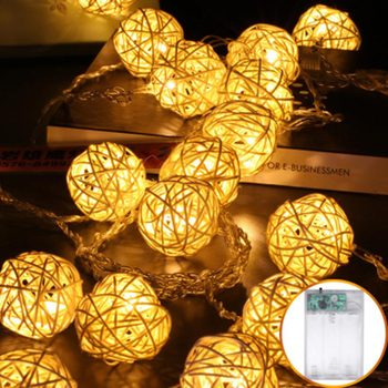 Rattan Ball Garlands LED String Light Battery Operated 2M 5M 10M 40 Luminaria Fairy Decorative Lights Christmas Indoor Wedding 5m 20led 10m 35led big ball string light indoor outdoor decorative fairy lighting for christmas trees patio party
