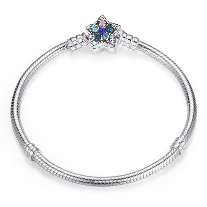 Новинка, браслет с подвеской из розового золота с Микки-Маусом, цепочка со змеей, подходит для Pan, базовые браслеты для модных женщин, бусины, сделай сам, ювелирное изделие - Окраска металла: NSL005