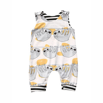 Baby Girl Clothes Newborn 0-3Y Sleeveless Rompertjes Mouwloze Cartoon Kid One Piece Jumpsuits