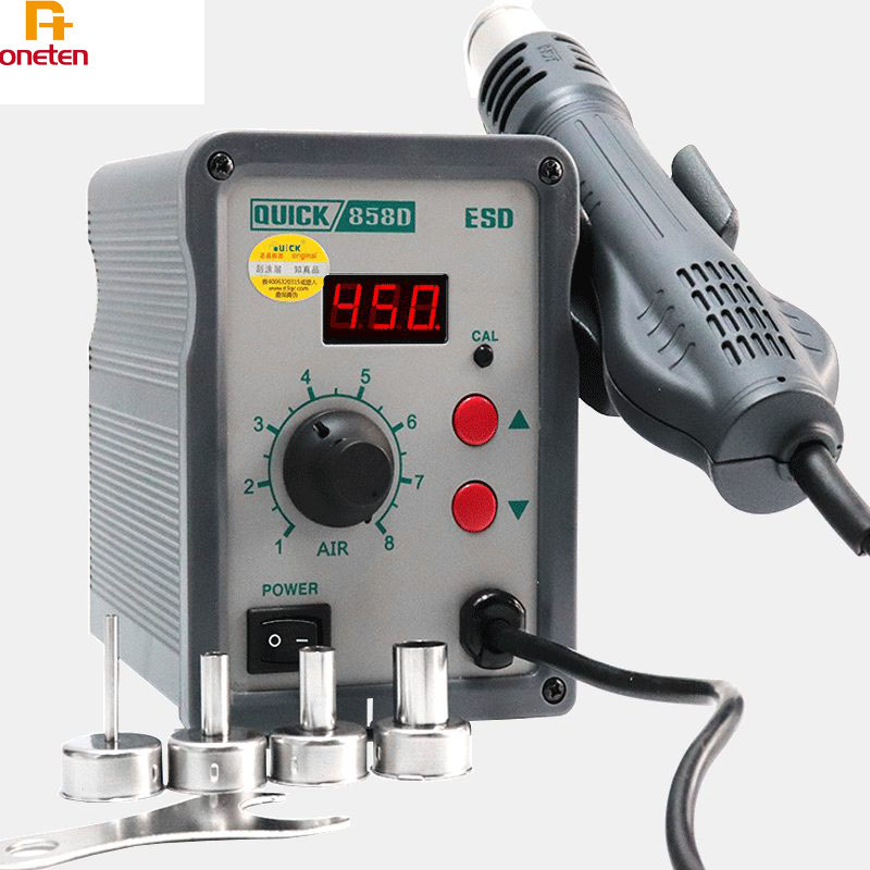 Quick 858D Hot Air Heating Gun 110v 220v For Mobile Phone Motherboard Repair Helical Wind 580W SMD Rework Station image