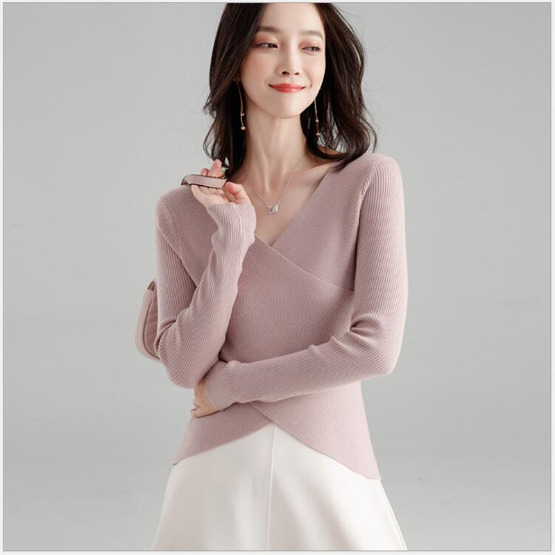 Elasticity Soft Women Sweater Autumn Pullovers Knitted Sweaters Women V Neck Sexy Slim Knit Coat Female Blouse Winter Knitwear S100