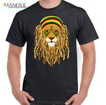 Dreadlock Lion With Shades Mens Funny Reggae T-Shirt Bob Marley Rasta Jamaica Cartoon Print Short Sleeve T Shirt Free Shipping