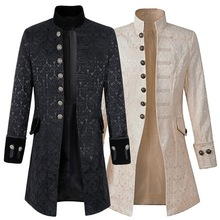 Men Steampunk Brocade Jacket Top Male Vintage Long Sleeve Gothic Victorian Coat Costumes Windbreaker