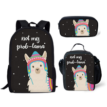 NOISYDESIGNS Cute Animal Alpaca Printing School Bags for Children 3pcs/set Schoolbag Kids Shoulder Girls Mochila Escolar