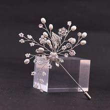 TRiXY XZ08 Bridegroom Boutonniere Pearls Jewelry Silver Brooch Beaded Fashion Brooch Pin Women Girl Pearls Wedding Brooch