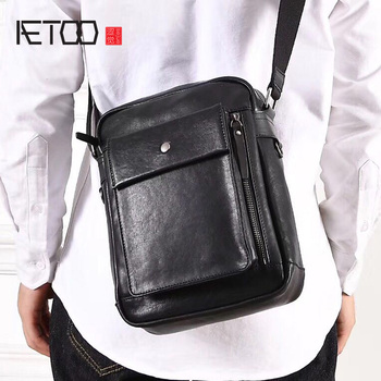 AETOO New shoulder bag men's leather soft leather implementation of vertical bag first layer vegetable tanned leather men's aetoo leather art sen retro shoulder shoulder bag handbags women s vegetable tanned leather saddle bags multi color