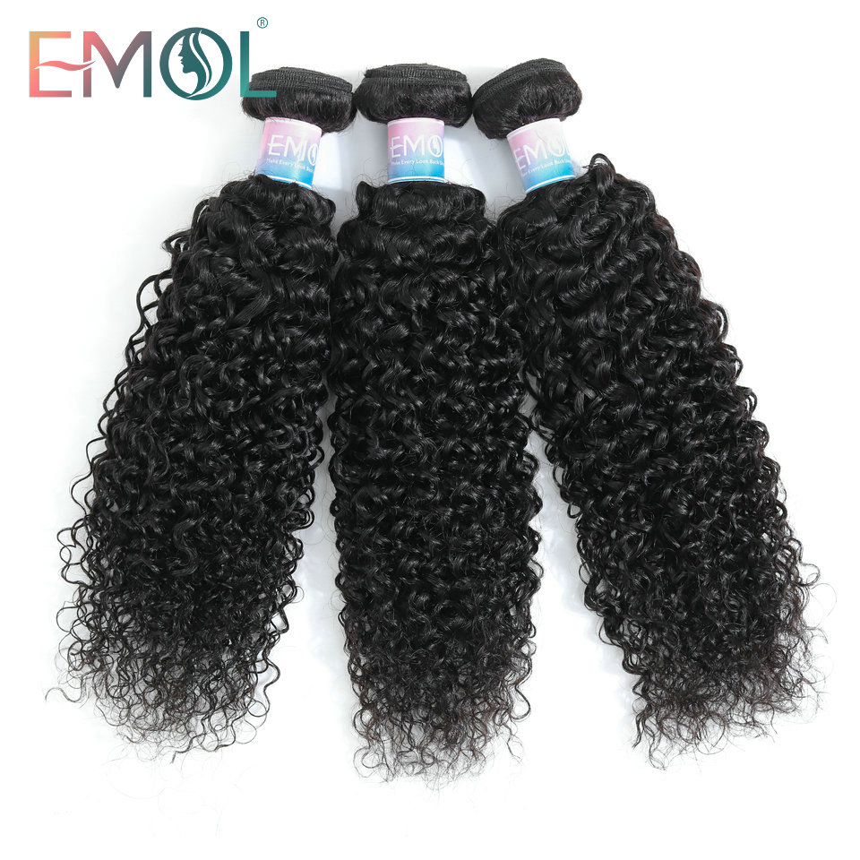 Emol Hair Malaysian Kinky Curly Hair Bundles 100% Human Hair Weave Bundles 1/3/4 Pieces Non-Remy Hair Extensions