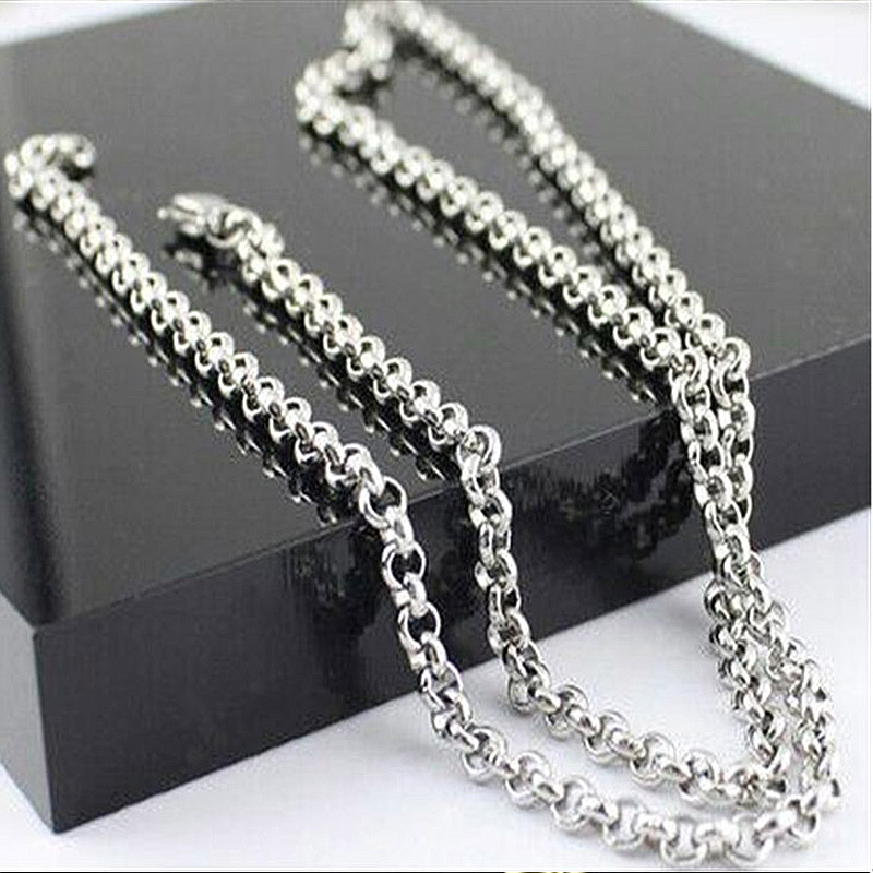silver necklace mens stainless steel rose gold chians necklaces chain gifts for male Accessories women jewelry on the neck 2019