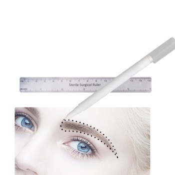1PCS Marker Pens Surgical Skin Eyebrow Marker Pen Tattoo Skin Marker Pen With  Measuring Ruler Microblading Positioning Tool