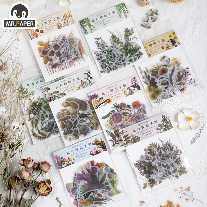 Mr.paper 8 Designs 40Pcs/lot Flowers Botany Series Deco Stickers Scrapbooking Bullet Journal Popular Deco Stationery Stickers