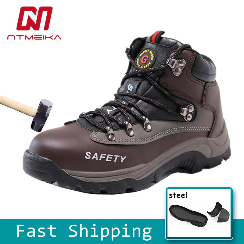 Men Safety Shoes Steel Toe Cow Leather Work Shoes Wear-Resisting Winter Warm Work Boots
