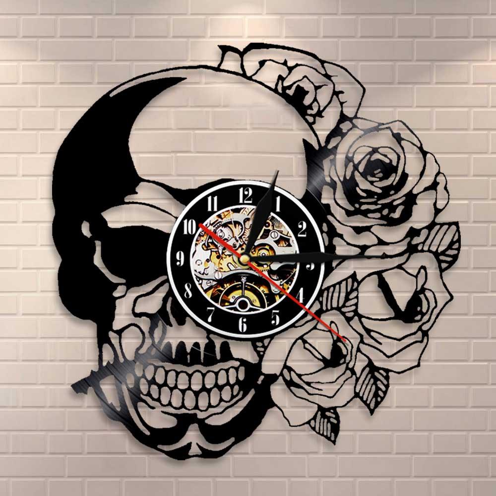 Tattoo Skull With Rose Wall Art Wall Clock Skeleton Skull Thorn Roses Vinyl Record Wall Clock Gothic Home Decor Wall Watch Clock