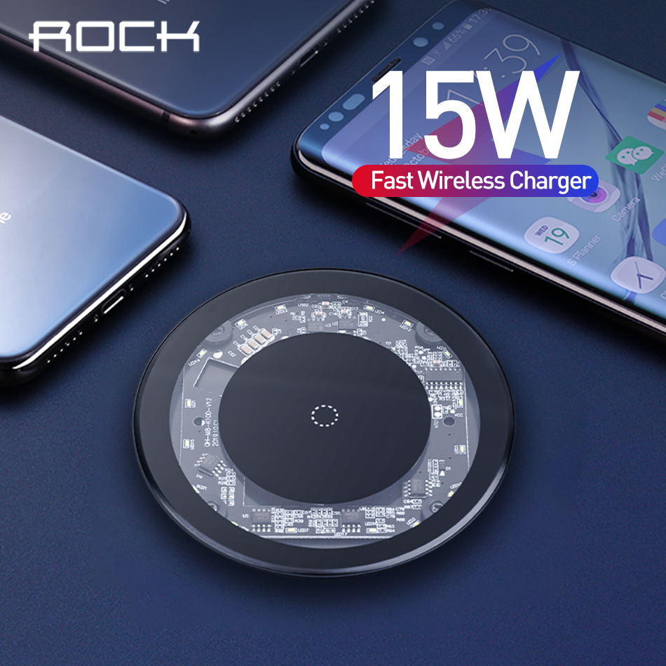 ROCK 15W Fast QI Wireless Charger For IPhone 8 Plus X XR XS Max 11 Visible Wireless Charging Pad For Samsung S9 S10 Note 9 8
