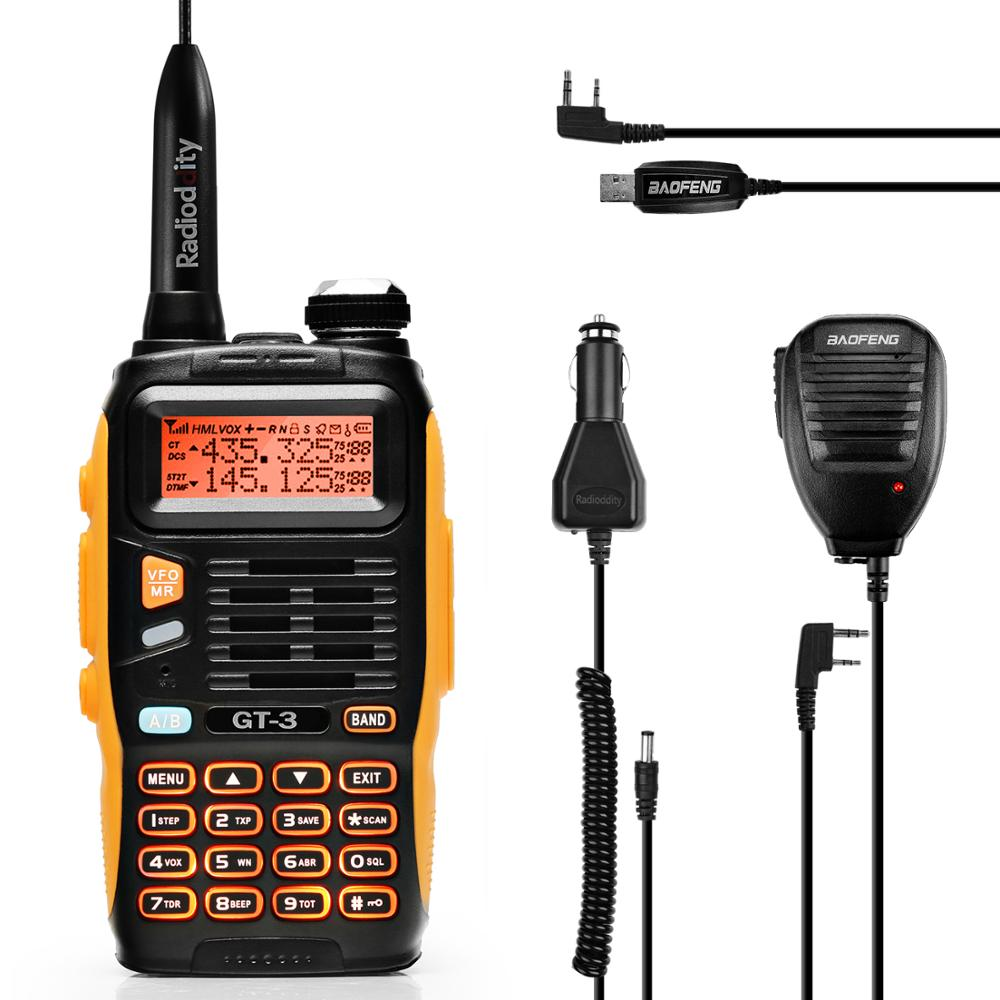 Baofeng GT-3 Mark II VHF/UHF 136-174/400-520 MHz DualBand Ham Two Way Radio Walkie Talkie With Programming Cable/Remote Speaker