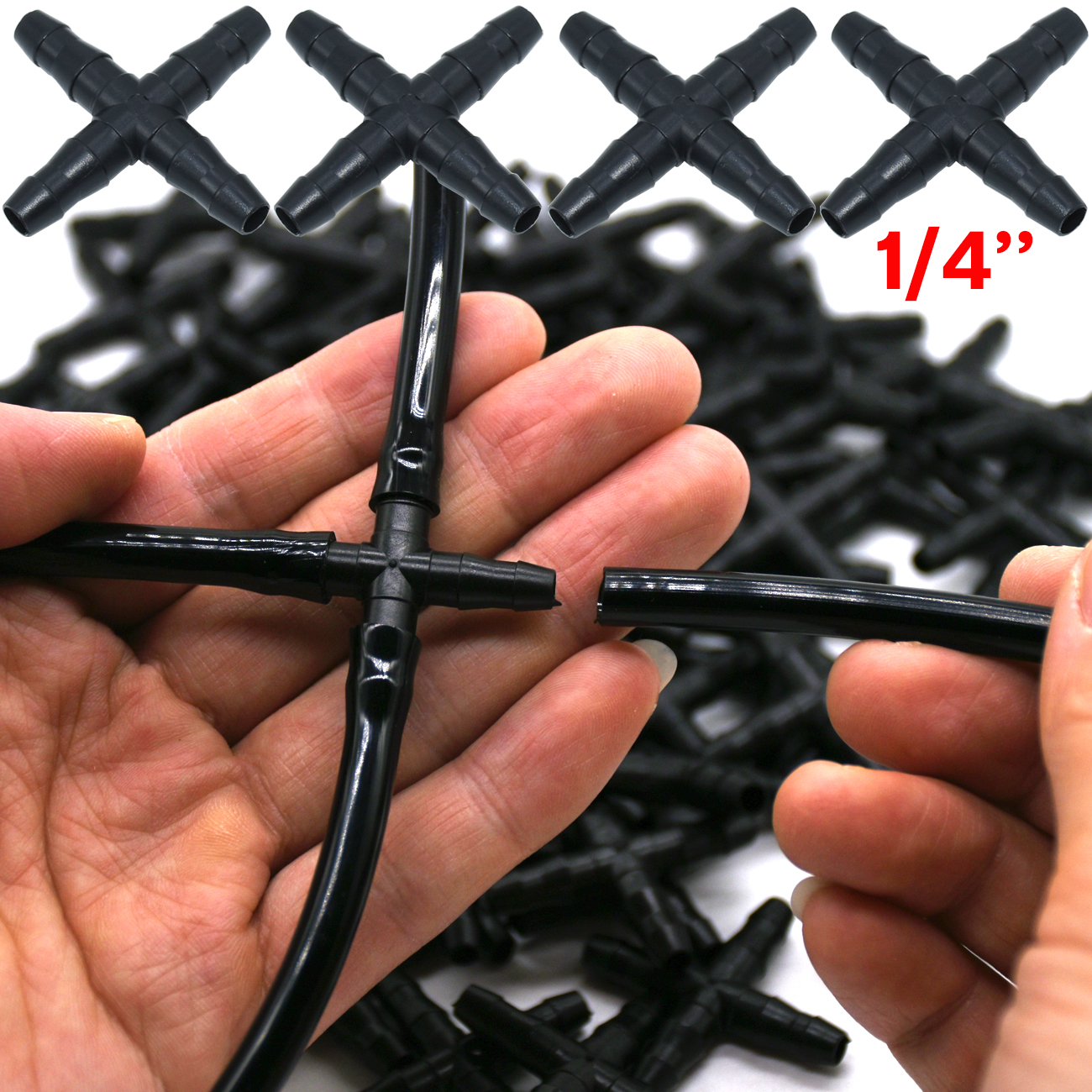 10PCS 1/4'' Cross Connecter For 4/7mm Micro Tubing Hose 4 Ways Barbed Adapter Drip Irrigation Cross Joint Connectors