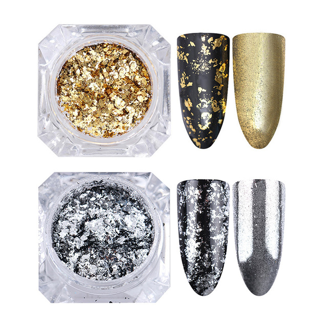 1Box Nail Glitter Sequins Shiny Gold Mixed Colors Irregular Nail Paillette Flakes for DIY Nail Art Design Decoration