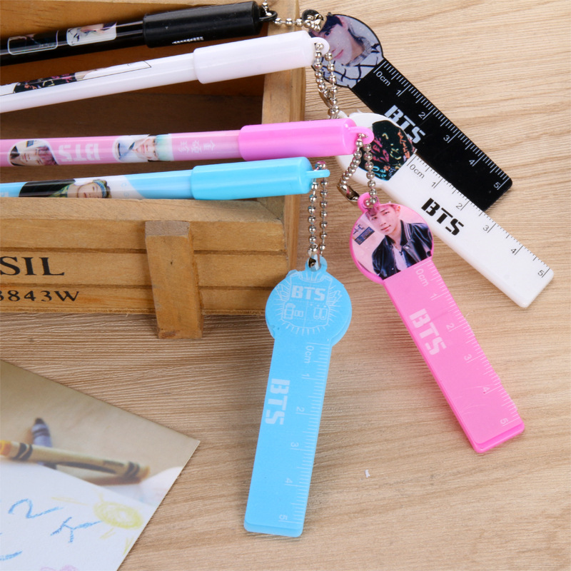 Creative Idol BTS Small Ruler Pendant Gel Pen Student Stationery Prizes Small Gifts