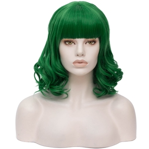 Image 5 - Yiyaobess 35CM גלי פאה קצרה אדום שחור לבן בלונד ירוק ורוד סינטטי שיער ליל כל הקדושים תלבושות אישה קוספליי פאות עם פוני